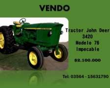 Vendo Tractor John Deere 3420 Mod. 76