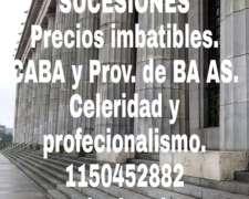 Sucesiones Precio Imbatible. Caba y Provincia BS AS.