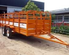 Trailer Acoplado Jaula Carro Capacidad 24 Cerdos Cheques