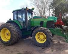 Tractor John Deere 6145j, con Duales y Pisa Palos, 2010