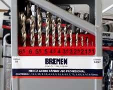 Juego de Mechas Acero Rápido SET 19 PZ Caja Metálica Bremen