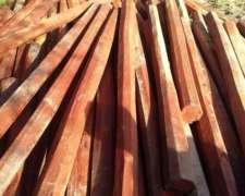 Postes De Quebracho Colorado Octogonales 2,20 2,40 2,60 3,00