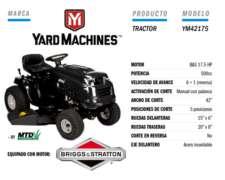 Minitractor Cortacésped Yard Machine 17.5 HP