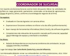 Coordinador de Sucursal - San Carlos Norte (santa FE)