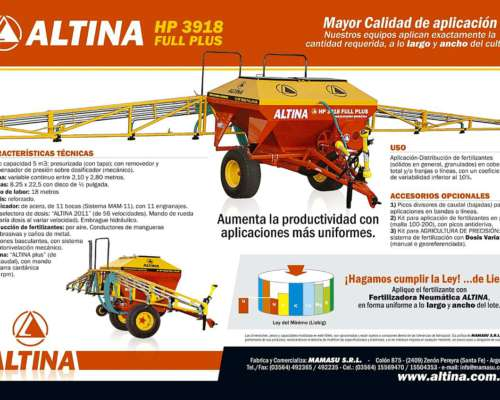 Fertilizadora / Sembradora Neumática Altina HP 3918
