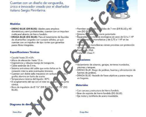 Bomba Zenit Dreno Blue 50 M - 0,50 HP - Monofásica