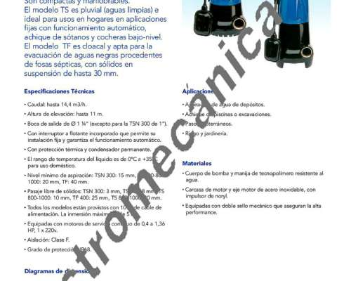 Bomba Speroni TSN 300 - 0,40 HP - Monofásica