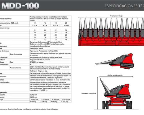 Cabezal Maicero Mainero Mdd-100. Versiones: 14-16-18-20 Surc