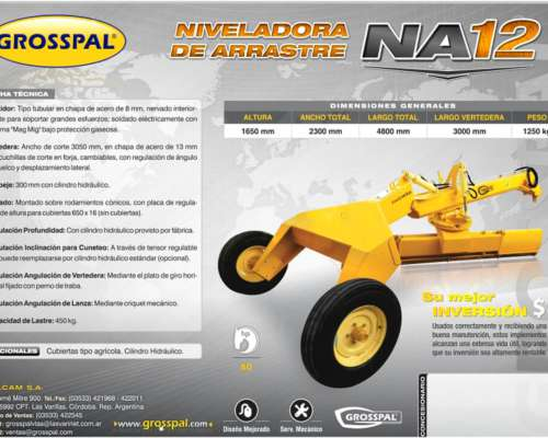 Niveladora de Arrastra NA 12 - Grosspal
