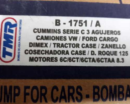 Bomba de Agua para Cummins 6c - 6 CT - 6 CTA - 6 Ctaa 8.3