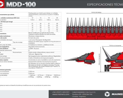 Cabezal Maicero MDD-100 de 16 Surcos Nuevo Stock