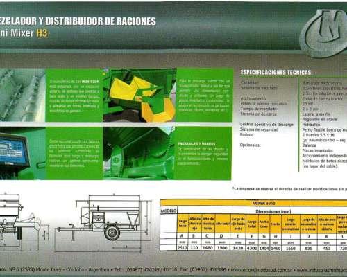 Mixers Montecor H3 Nuevo. Vende Cignoli Hnos.