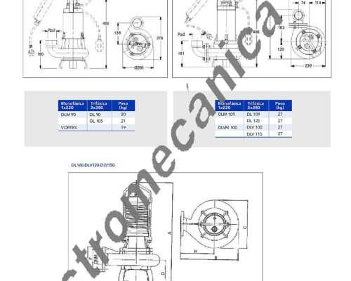 Bomba Lowara DNM 115 - 0,80 HP - Monofásica