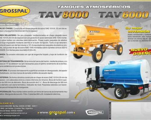 Acoplado Tanque Atmosferico TAV 8000/ 6000 - Grosspal