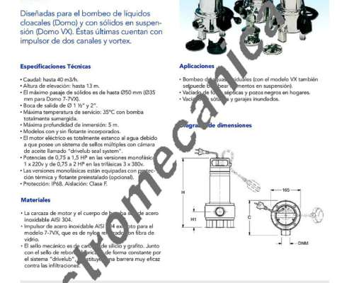 Bomba Lowara Domo 10 VX S/G - 0,75 HP - Monofásica