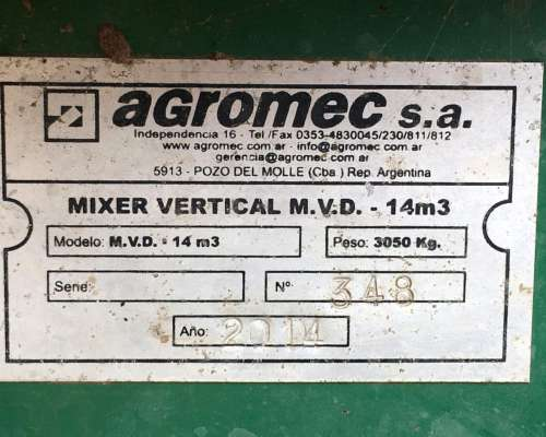 Mixer Vertical Agromec 14 Mts 3 Modelo M.v.d