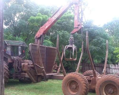 Tractor John Deere 7505 C/carreta y Grúa Penzsaur de 12 TN