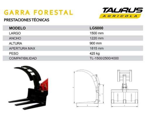 Garra Forestal UÑA Madera Manipulador Telescopico Taurus